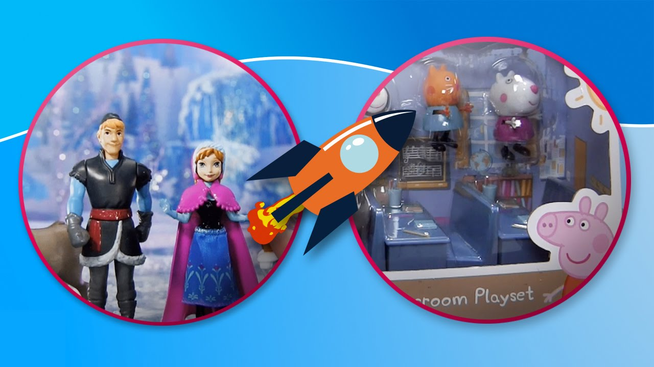Elsa y Anna de Frozen visitan la escuela de Peppa Pig en Tateti Toys