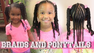 Beads , Braids And Ponytails | Hairstyle For Girls ▸ Kids Natural Hair