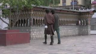 preview picture of video 'Prayer Wheels in Thimphu'