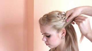 """Смотреть онлайн Прическа """"цветы из волос"""" на длинные волосы"""