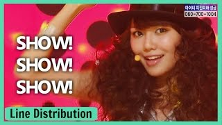 Girls' Generation 「Show! Show! Show!」 Line Distribution | Color Coded Bars