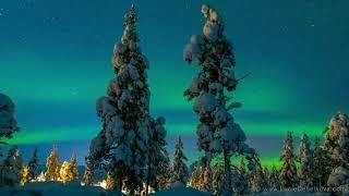 Зима в Финляндии  Великолпное видео  Снега  Звезды и Северное сияние