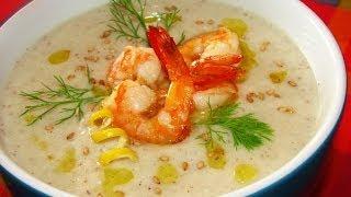 Легкий сливочный суп с креветками в мультиварке