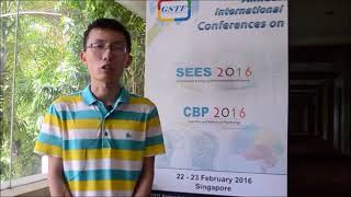 Mr. Lemeng Yu at SEES Conference 2016 by GSTF Singapore