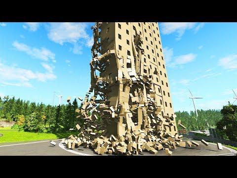 SATISFYING high building demolition - BeamNG.Drive