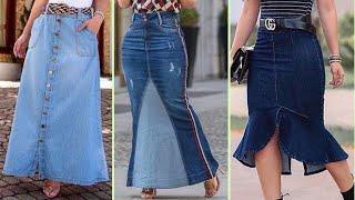 Long Denim Jeans Skirt Designs || Stylish Denim Skirt Outfit Ideas