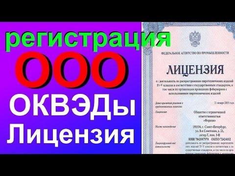 ООО при регистрации указать лицензированные виды деятельности ОКВЭД
