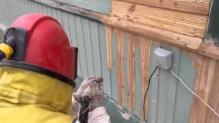 Dažų šalinimas nuo medienos, smėliavimas