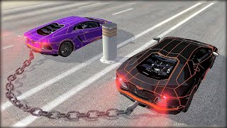 CHAINED UP #5 - Bollard - Giant Chain Crashes - BeamNG.Drive Crashes