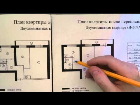 Варианты перепланировки в двухкомнатной квартире в доме серии И-209А, ч.1