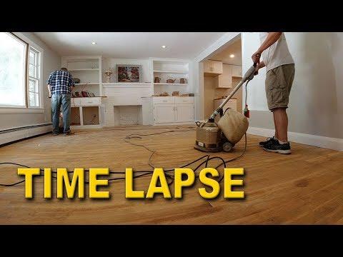 DIY Hardwood Floor Restoration Time Lapse - Sanding and Refinishing 700sq ft of Flooring