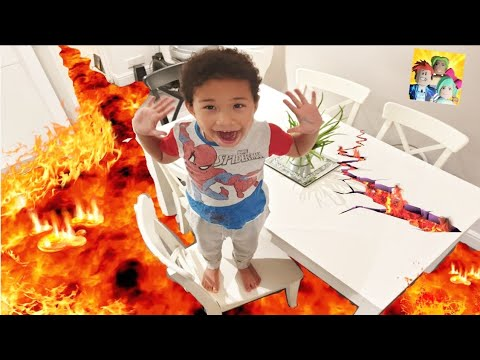 THE FLOOR IS LAVA Challenge !! Pretend Play