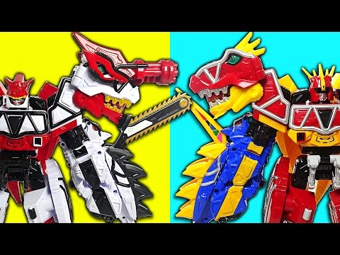 Return of Legend! Power Rangers Dino Charge Brave part.1 - White vs Red - DuDuPopTOY