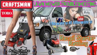 TROUBLESHOOTING FREE TORO SR4 LONCIN CHINESE CLONE AUTO CHOKE CRAFTSMAN LAWNMOWER RECOIL STARTER FIX