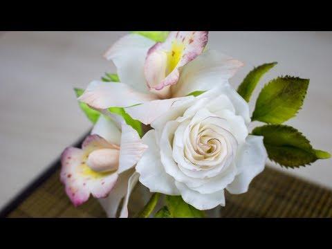 Цветы из Сахарной пасты( Принцесса). Орхидея и Роза в цветочной композиции - Я - ТОРТодел!
