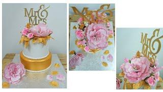Gold And White Wedding Cake Idea |  Elegant Wedding Cake | Floral Wedding Cake | Easy Cake Design