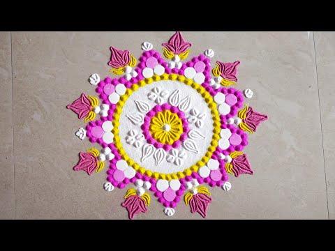 colorful rangoli design by karishma dighore