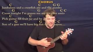 Jambalaya (Hank Williams) Ukulele Cover Lesson in C with Chords/Lyrics - C G