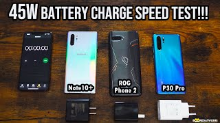 Galaxy Note 10+ vs Huawei P30 Pro vs ROG Phone 2- 45W Battery Charging Speed Test