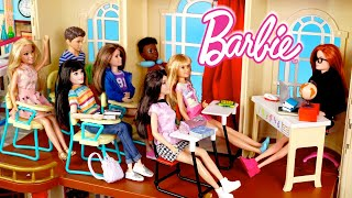 School Morning Routine With Barbie Doll Family -  The New Student Story
