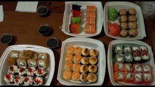 Wasabi, суши и роллы Чита - набор роллов 10 самураев  - Обзор Доставки Еды || #ДОСТАВКАЧИТА