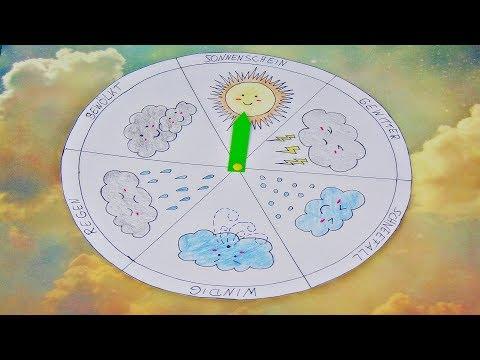 Basteln: Wetter Uhr / Kinderuhr aus Papier basteln / Make a weather wheel / Kawaii