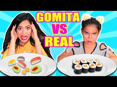 Comida de GOMA vs REAL con Mia! Sushi, Tacos, Pizza, Hamburguesas 😱 Food Challenge SandraCiresArt