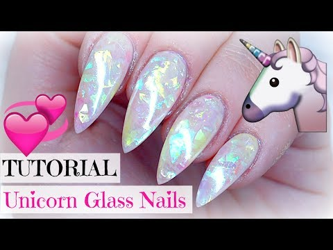 TUTORIAL | UNICORN GLASS NAILS | LIGHT ELEGANCE | GELÉNAGLAR | STILETTO GEL NAILS