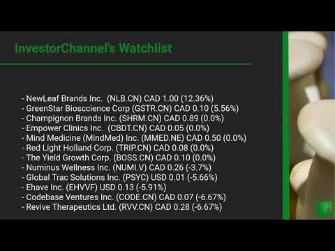 InvestorChannel's Psychedelics Watchlist Update for Thursday, August 13, 2020, 16:31 EST