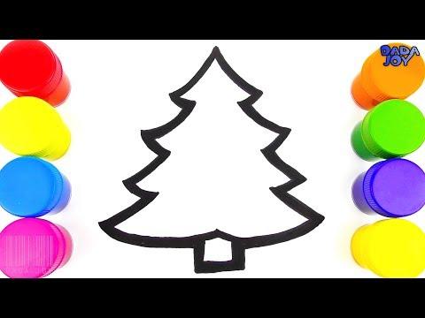 Cómo dibujar un Árbol de Navidad| Aprende los colores| Árbol de Navidad