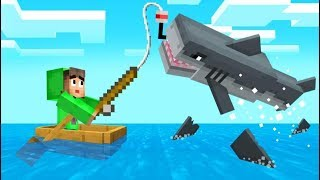 FISHING *GIANT* SHARKS In MINECRAFT! (Scary)