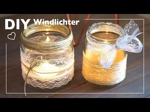 DIY Windlichter mit Jute und Spitze basteln
