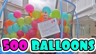 TRAMPOLINE FILLED WITH 500 BALLOONS!