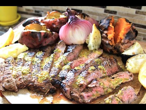 Awesome Grilled Flank Steak - with Gaucho Sweet Potatoes and Rustic, Charred Caesar Salad