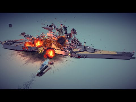 Torpedo Devastates a Huge Battleship + Other Random Destruction   Besiege