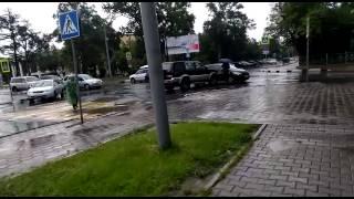 Утренняя авария спровоцировала пробку в центре Южно-Сахалинска