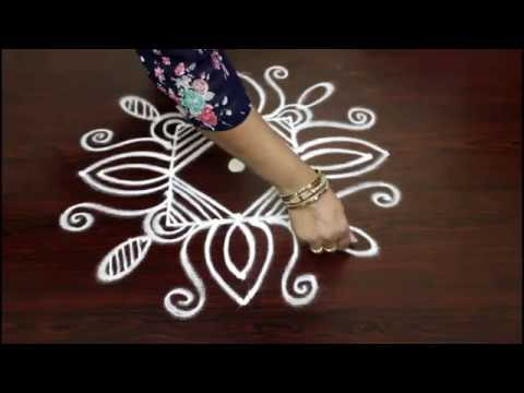Lotus Flower Kolam Designs With 5 To 1 Straight Dots