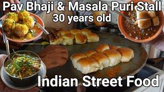 30 years old famous Vaishali Pav bhaji & Masala puri street food centre | Indian Street food chaat