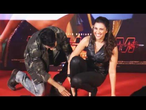 Varun Dhawan TOUCHES Parineeti's Feet In Public At Jaaneman Aah Song Launch   Dishoom