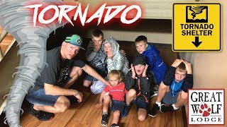 Hiding From REAL Tornado at Great Wolf Lodge!!
