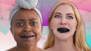 Women Try Charcoal Teeth Whitening