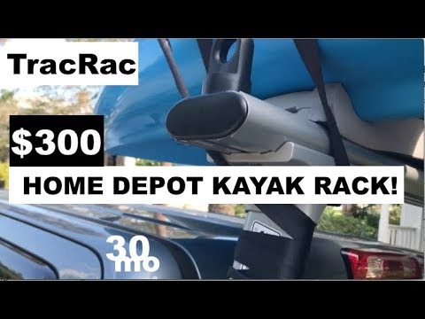$300 KAYAK TRUCK RACK from HOME DEPOT ! TracRac TracONE - tips w/ ty