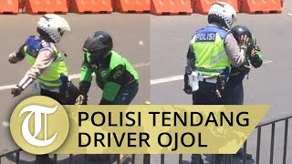 VIRAL Video Detik-detik Anggota Polres Bogor Tendang Driver Ojol yang Terobos Jalur Rombongan Jokowi