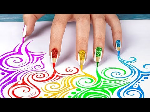 10 Weird Nail Hacks / Back To School Nails Using School Supplies!