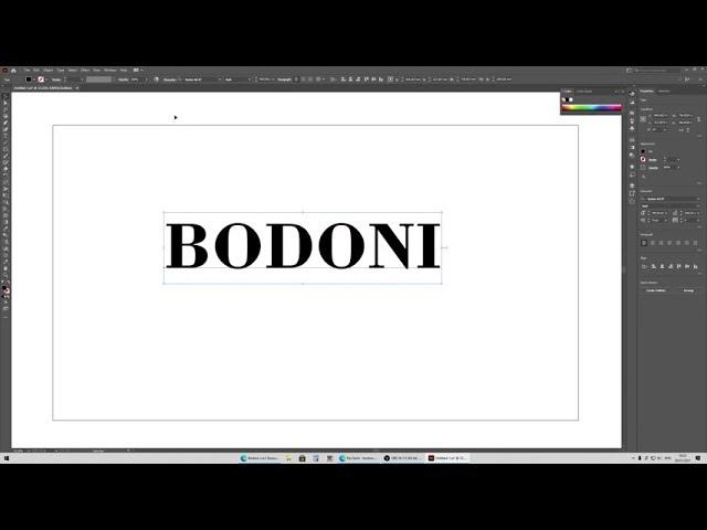 BODONI | Illustrator tekstje omzetten naar letter contour.