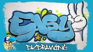 Graffiti Tutorial - How to draw easy graffiti bubble style letters