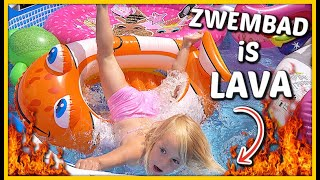 WATER iS LAVA iN ZWEMBAD CHALLENGE ? ? | Bellinga Vlog #1765