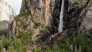 Yosemite National Park Drone View 4k California Video DJI Mavic Air Aerial Waterfall water sound