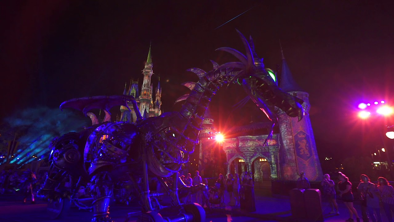 Maleficent the Dragon for the first time at night at Magic Kingdom