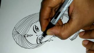 How To Draw A Female Face | One Stroke  Face Skrechting | Face Drawing